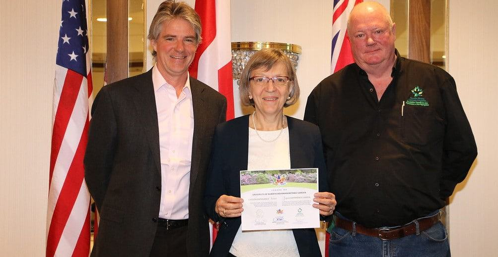 Ruby Swanson accepted award for the University of Alberta Botanic Garden.