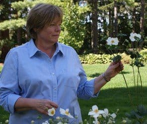 Garden Making Editor Beckie Fox with anemones at Niagara Botanical Gardens